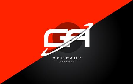 ga g a red black white technology swoosh alphabet company letter logo design vector icon template