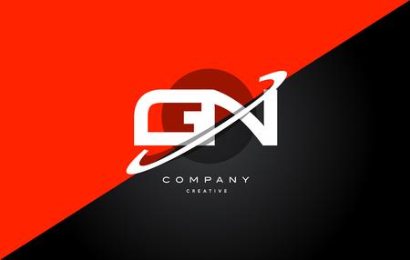 Gn g n red black white technology swoosh alphabet company letter logo design vector icon template