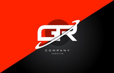 gr: Gr g r  red black white technology swoosh alphabet company letter logo design vector icon template Illustration