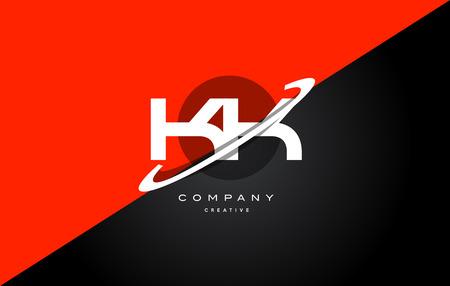 Kk k k red black white technology swoosh alphabet company letter logo design vector icon template