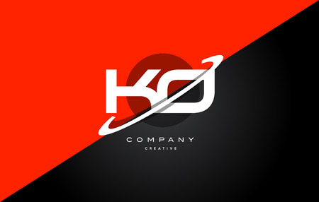 ko k o red black white technology swoosh alphabet company letter logo design vector icon template