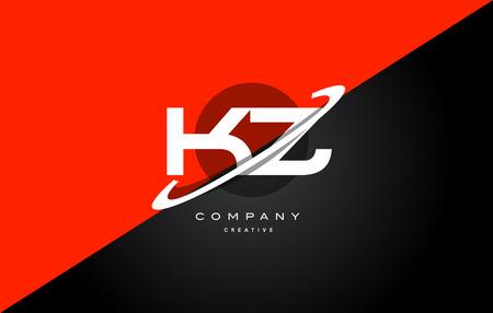 kz: Kz k z  red black white technology swoosh alphabet company letter logo design vector icon template