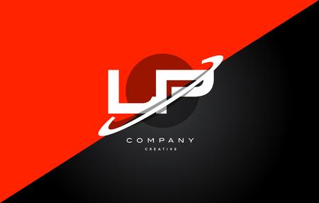 lp l p  red black white technology swoosh alphabet company letter logo design vector icon template