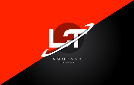 Lt l t  red black white technology swoosh alphabet company letter logo design vector icon template