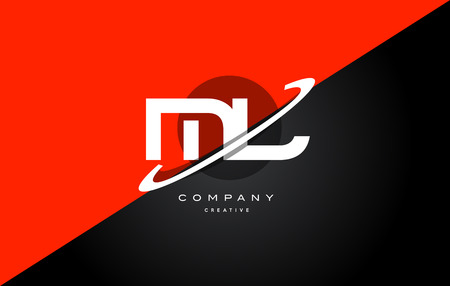 ml: Ml m l  red black white technology swoosh alphabet company letter logo design vector icon template Illustration
