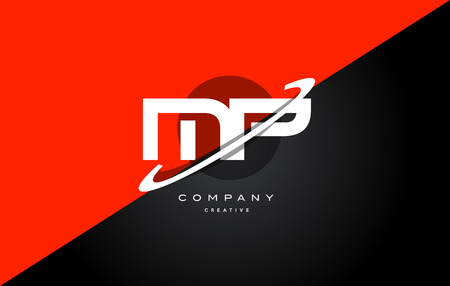 mp: Mp m p  red black white technology swoosh alphabet company letter logo design vector icon template Illustration