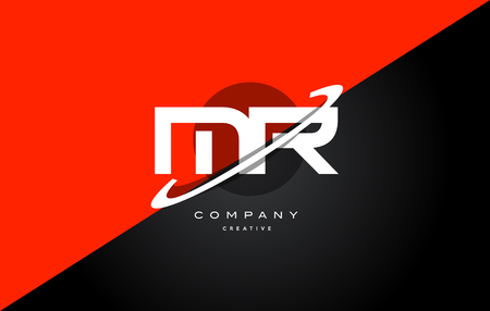 Mr m r  red black white technology swoosh alphabet company letter logo design vector icon template