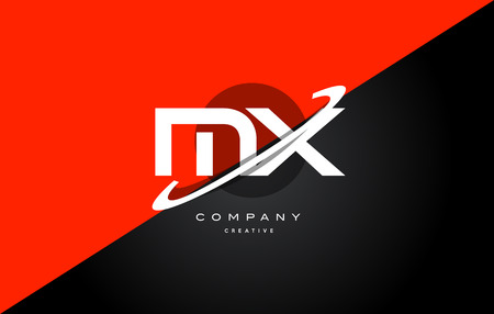 mx: Mx m x  red black white technology swoosh alphabet company letter logo design vector icon template