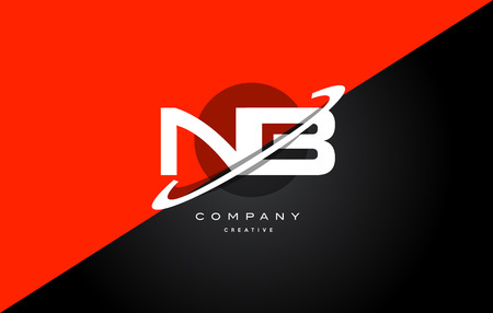 nb: Nb n b  red black white technology swoosh alphabet company letter logo design vector icon template