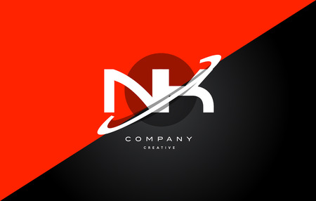 nk n k  red black white technology swoosh alphabet company letter logo design vector icon template