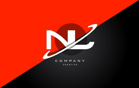 nl: nl n l  red black white technology swoosh alphabet company letter logo design vector icon template