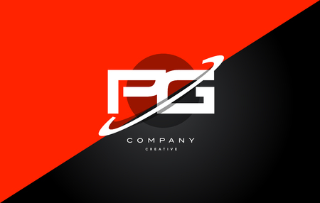 pg p g  red black white technology swoosh alphabet company letter logo design vector icon template