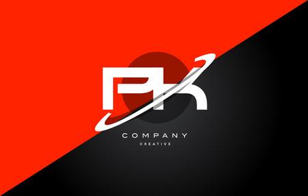 Pk p k red black white technology swoosh alphabet company letter logo design vector icon template