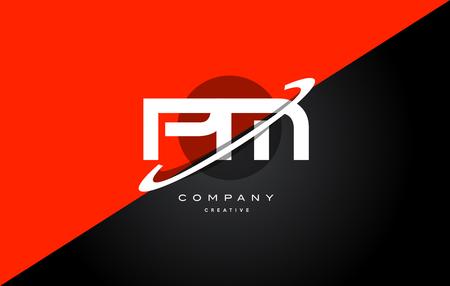 pm: Pm p l  red black white technology swoosh alphabet company letter logo design vector icon template Illustration