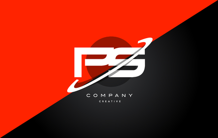 Ps p s  red black white technology swoosh alphabet company letter logo design vector icon template