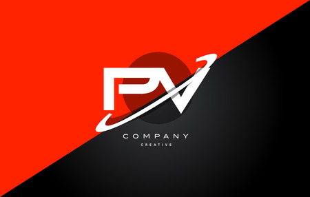 Pv p v  red black white technology swoosh alphabet company letter logo design vector icon template