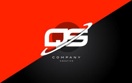 qs: Qs q s  red black white technology swoosh alphabet company letter logo design vector icon template Illustration