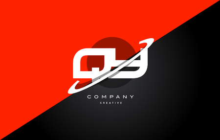 Qy q y  red black white technology swoosh alphabet company letter logo design vector icon template