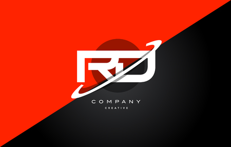 rd: rd r d  red black white technology swoosh alphabet company letter logo design vector icon template Illustration