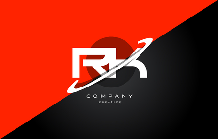 rk r k red black white technology swoosh alphabet company letter logo design vector icon template