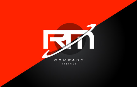 rm r m  red black white technology swoosh alphabet company letter logo design vector icon template Illustration
