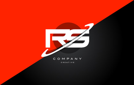 rs r s red black white technology swoosh alphabet company letter logo design vector icon template