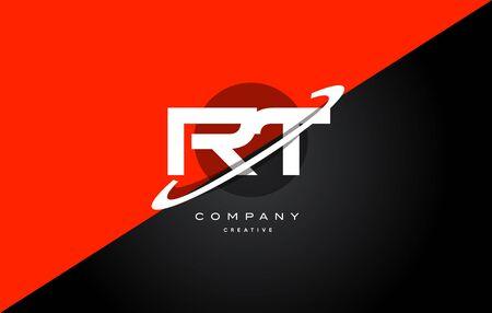 rt r t red black white technology swoosh alphabet company letter logo design vector icon template Logó