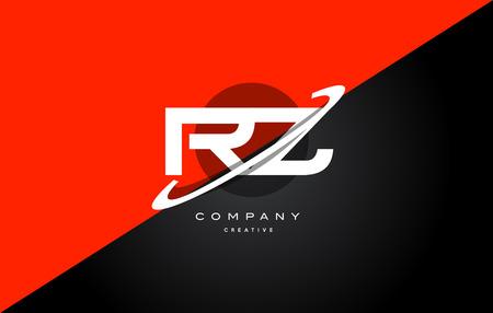 Rz r z red black white technology swoosh alphabet company letter logo design vector icon template