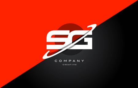 Sg s g  red black white technology swoosh alphabet company letter logo design vector icon template
