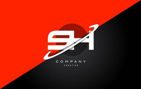 sh: Sh s h  red black white technology swoosh alphabet company letter logo design vector icon template Illustration