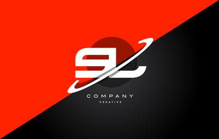 sl s l red black white technology swoosh alphabet company letter logo design vector icon template