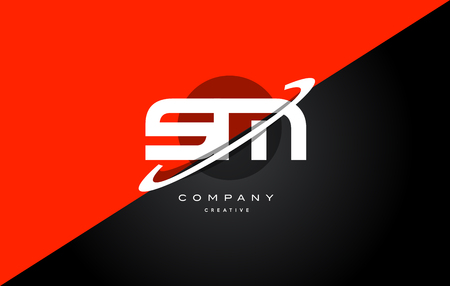 sm s m  red black white technology swoosh alphabet company letter logo design vector icon template Ilustrace