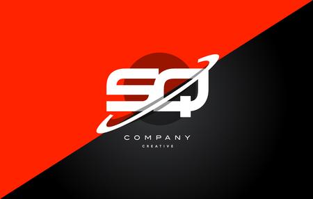 Sq s q red black white technology swoosh alphabet company letter logo design vector icon template