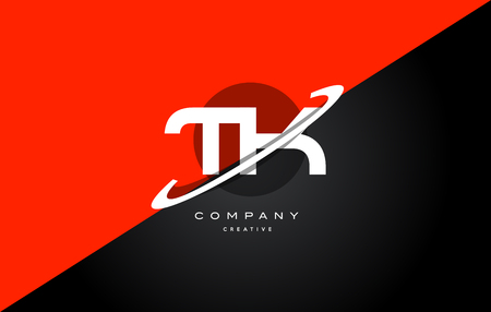 Tk t k  red black white technology swoosh alphabet company letter logo design vector icon template
