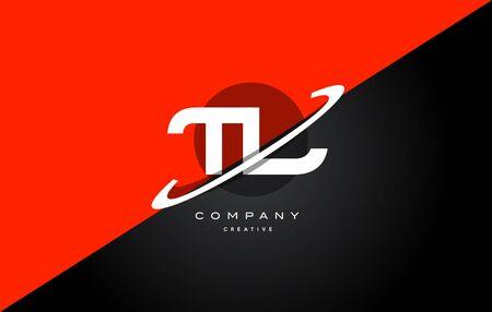 Tl t l red black white technology swoosh alphabet company letter logo design vector icon template