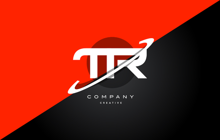 Tr t r red black white technology swoosh alphabet company letter logo design vector icon template