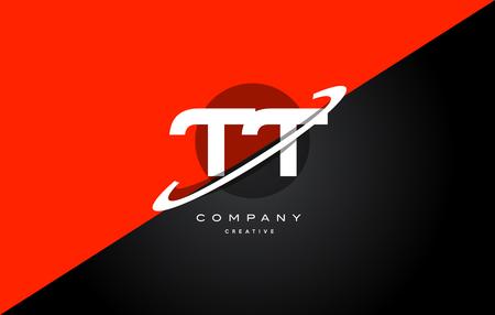 Tt t red black white technology swoosh alphabet company letter logo design vector icon template Logo