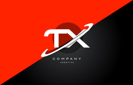 tx: tx t x  red black white technology swoosh alphabet company letter logo design vector icon template Illustration
