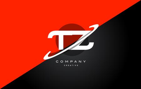 tz t z red black white technology swoosh alphabet company letter logo design vector icon template Logó