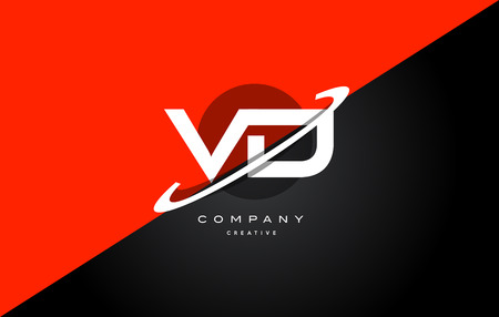 Vd v d red black white technology swoosh alphabet company letter logo design vector icon template