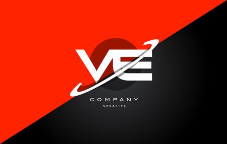 ve: Ve v e  red black white technology swoosh alphabet company letter logo design vector icon template