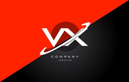 Vx V X Red Black White Technology Swoosh Alphabet Company Letter Logo Design Vector Icon Template