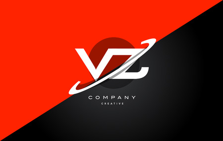 Vz v z  red black white technology swoosh alphabet company letter logo design vector icon template Illustration