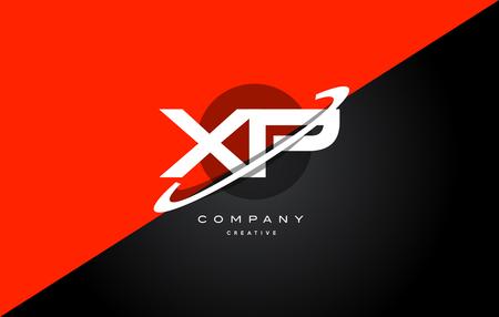 xp x p  red black white technology swoosh alphabet company letter logo design vector icon template Illustration