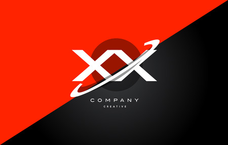 Xx x x  red black white technology swoosh alphabet company letter logo design vector icon template Illustration
