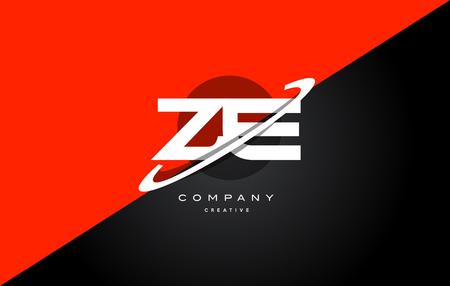 ze: Ze z e  red black white technology swoosh alphabet company letter logo design vector icon template