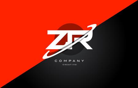 Zr z r red black white technology swoosh alphabet company letter logo design vector icon template