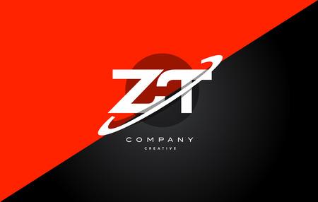 Zt zt kırmızı siyah beyaz teknoloji swoosh alfabe şirketi mektup logo tasarım vektör simgesi şablonu