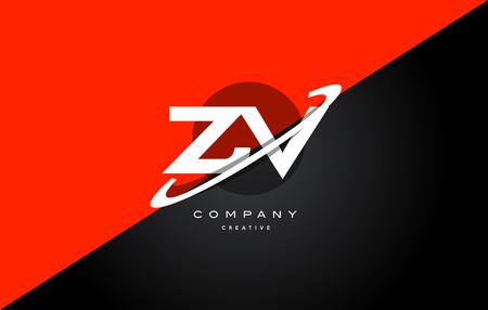 Zv z v  red black white technology swoosh alphabet company letter logo design vector icon template