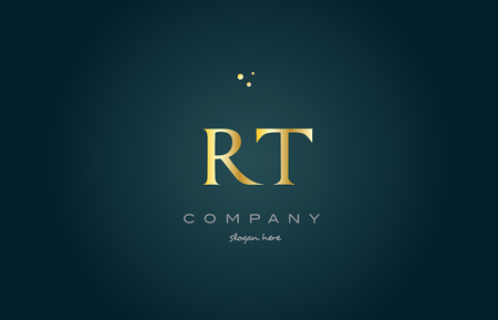 rt r t gold golden luxury product metal metallic alphabet company letter logo design vector icon template green background Logó